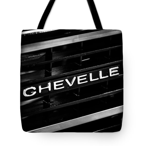 Chevy Chevelle Grill Emblem Black And White Picture Tote Bag by Paul Velgos