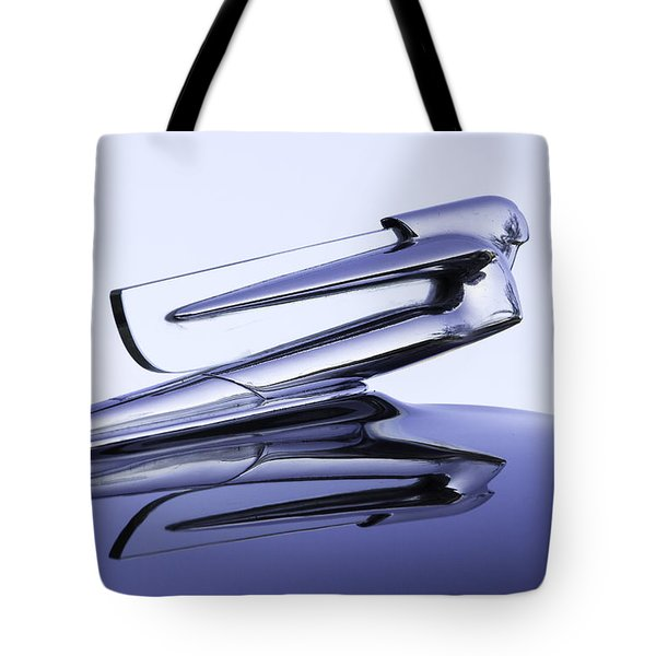 Tote Bag featuring the photograph Chevy Hood Ornament In Blue by Betty Denise