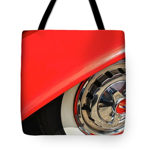Tote Bag featuring the photograph 1955 Chevy Rim by Linda Bianic