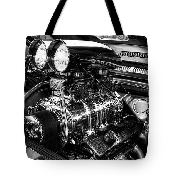 Chevy Supercharger Motor Black And White Tote Bag