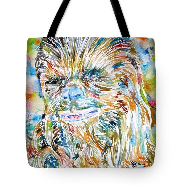 Chewbacca Watercolor Portrait Tote Bag
