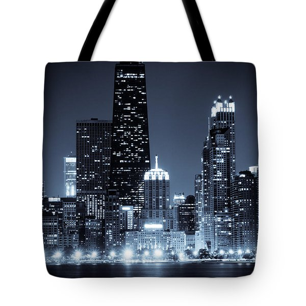 Chicago At Night With Hancock Building Tote Bag by Paul Velgos