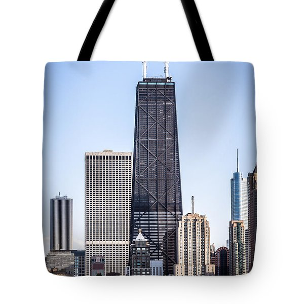 Chicago At Night With John Hancock Building Tote Bag by Paul Velgos