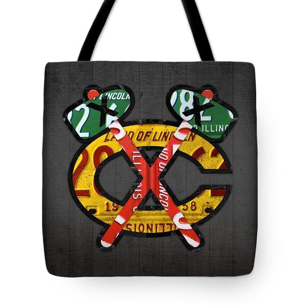 Chicago Blackhawks Hockey Team Retro Logo Vintage Recycled Illinois License Plate Art Tote Bag by Design Turnpike