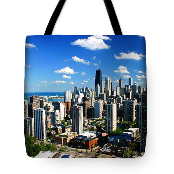 Chicago Buildings Skyline Clouds Tote Bag