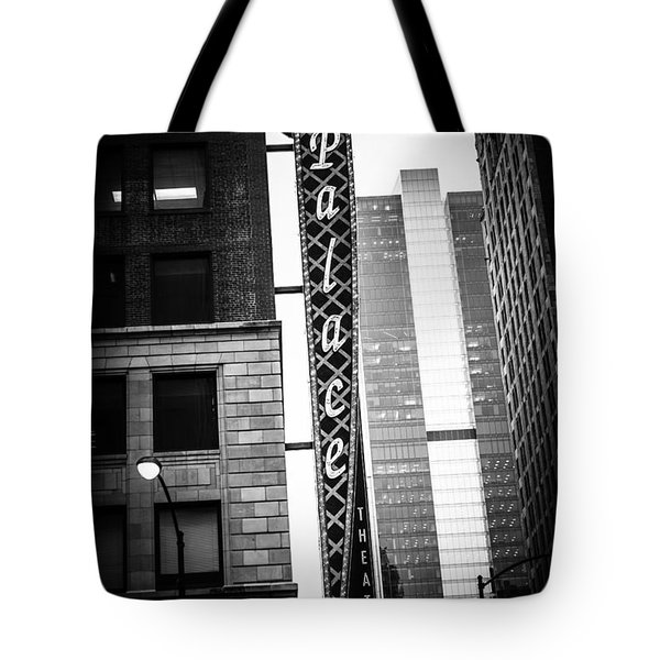 Chicago Cadillac Palace Theatre Sign In Black And White Tote Bag by Paul Velgos