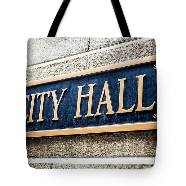 Chicago City Hall Sign Tote Bag by Paul Velgos