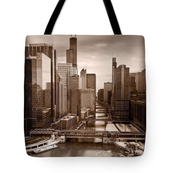 Chicago City View Afternoon B And W Tote Bag by Steve Gadomski