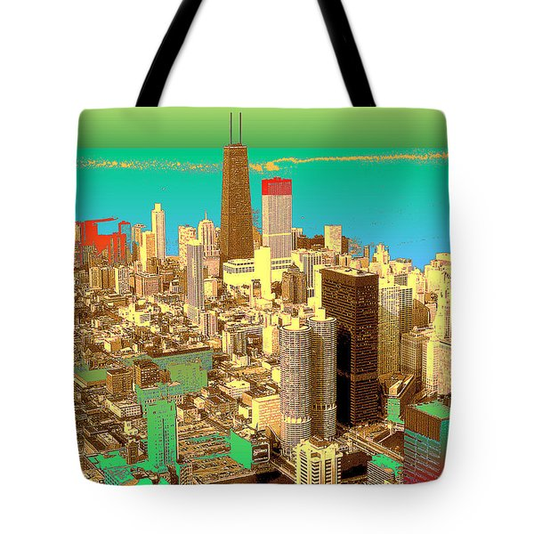 Chicago Pop Art In Blue Green Red Yellow Tote Bag
