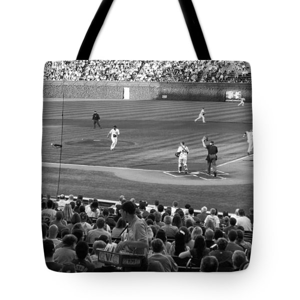 Chicago Cubs On The Defense Tote Bag by Thomas Woolworth