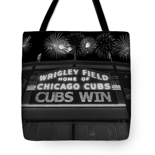 Chicago Cubs Win Fireworks Night B W Tote Bag