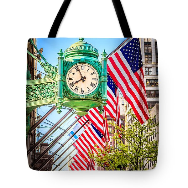 Chicago Great Clock On Macys Building Tote Bag by Paul Velgos