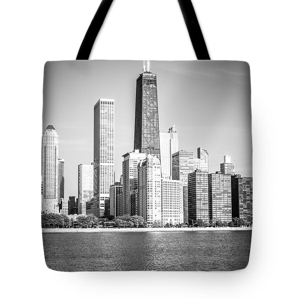 Chicago Hancock Building Black And White Picture Tote Bag by Paul Velgos