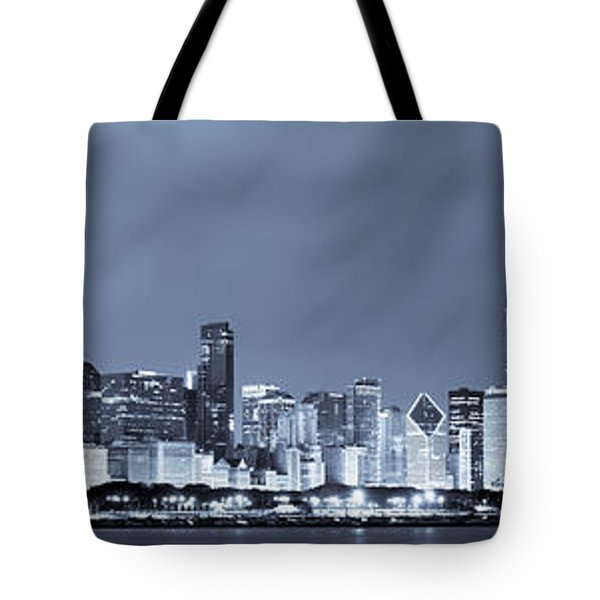 Chicago In Blue Tote Bag by Sebastian Musial