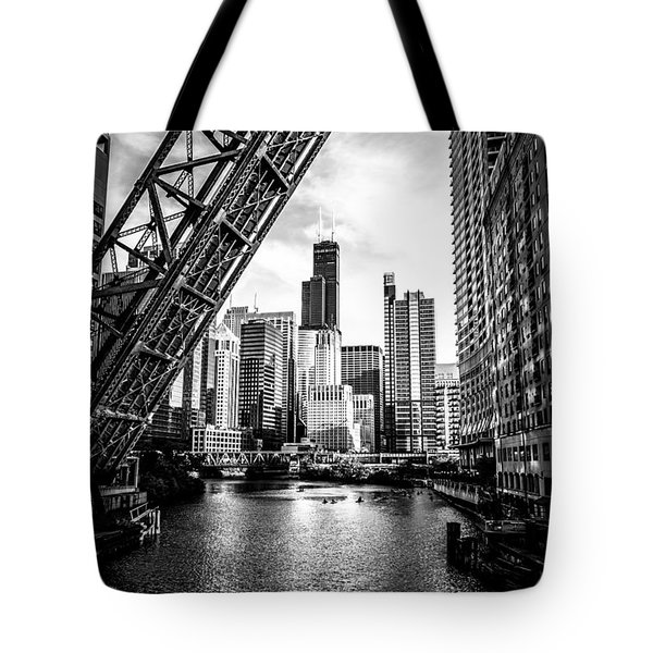 Chicago Kinzie Street Bridge Black And White Picture Tote Bag