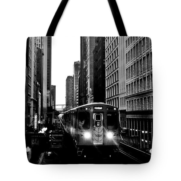 Chicago L Black And White Tote Bag by Benjamin Yeager