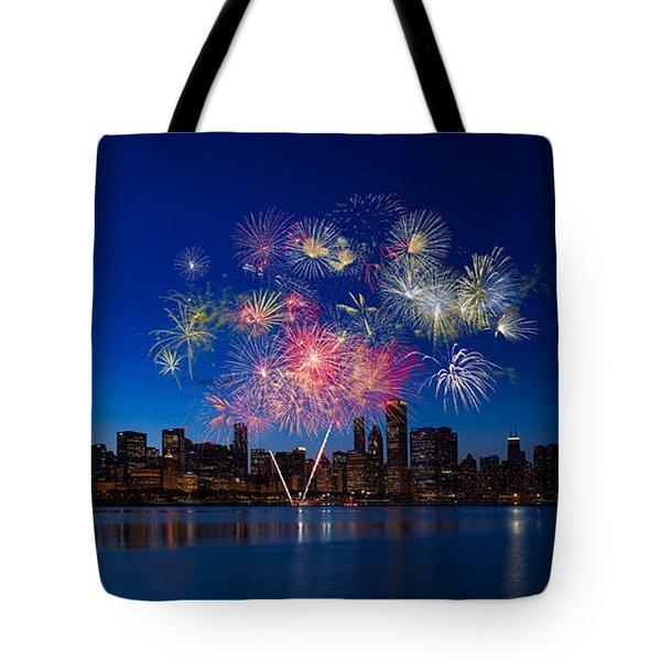 Chicago Lakefront Fireworks Tote Bag by Steve Gadomski