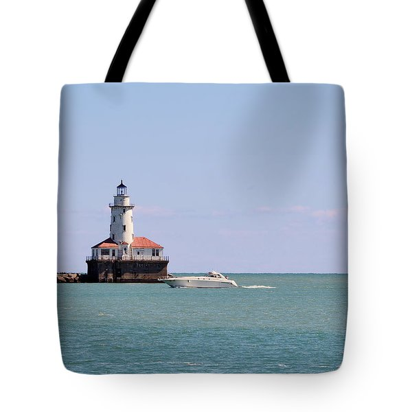 Chicago Light House With Boat In Lake Michigan Tote Bag by Christine Till