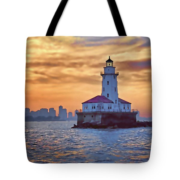 Chicago Lighthouse Impression Tote Bag by John Hansen