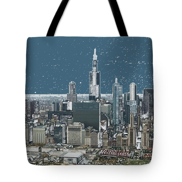 Chicago Looking West In A Snow Storm Digital Art Tote Bag by Thomas Woolworth