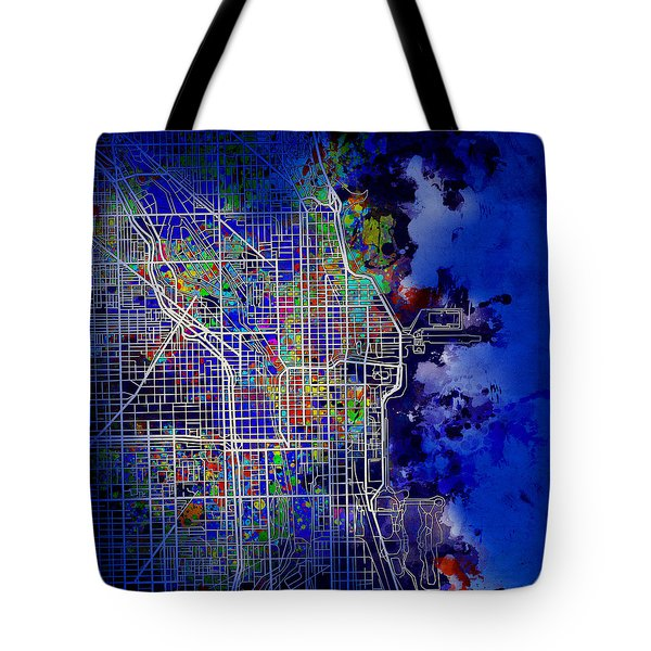 Chicago Map Blue Version Tote Bag