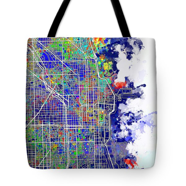 Chicago Map Color Splash Tote Bag