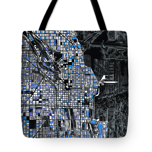 Chicago Map Drawing Collage 3 Tote Bag