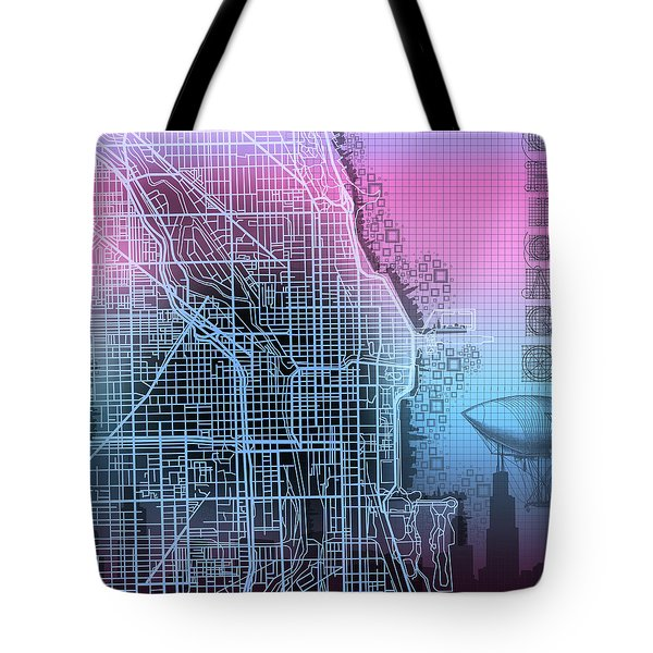 Chicago Map Gradient 2 Tote Bag