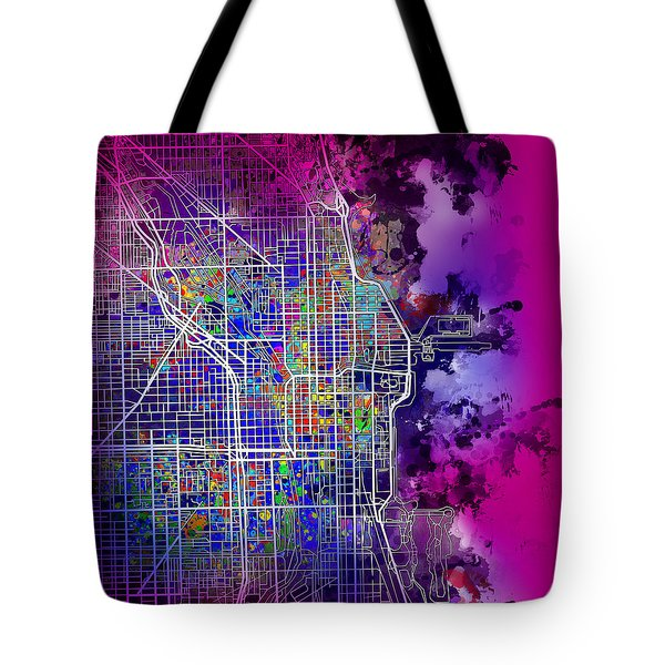 Chicago Map Purple Version Tote Bag