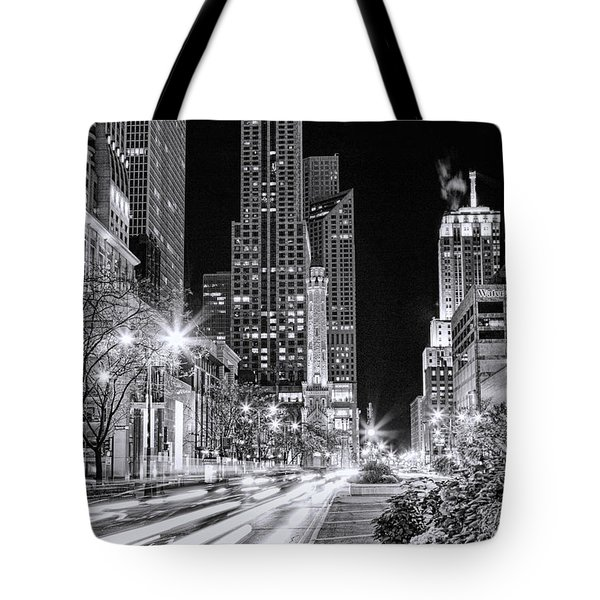 Chicago Michigan Avenue Light Streak Black And White Tote Bag by Christopher Arndt
