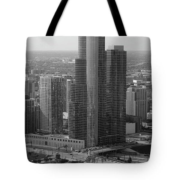 Chicago Modern Skyscraper Black And White Tote Bag by Thomas Woolworth