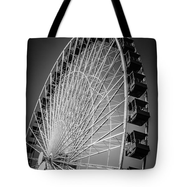 Chicago Navy Pier Ferris Wheel In Black And White Tote Bag by Paul Velgos