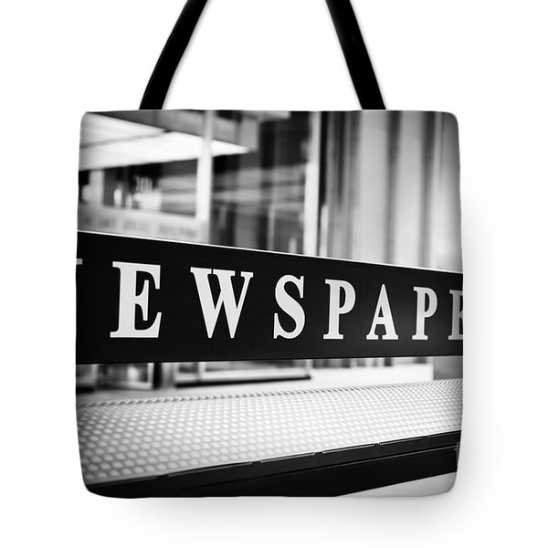 Chicago Newspapers Stand Sign In Black And White Tote Bag by Paul Velgos