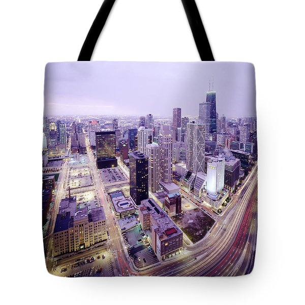 Chicago Night Tote Bag by Jon Neidert