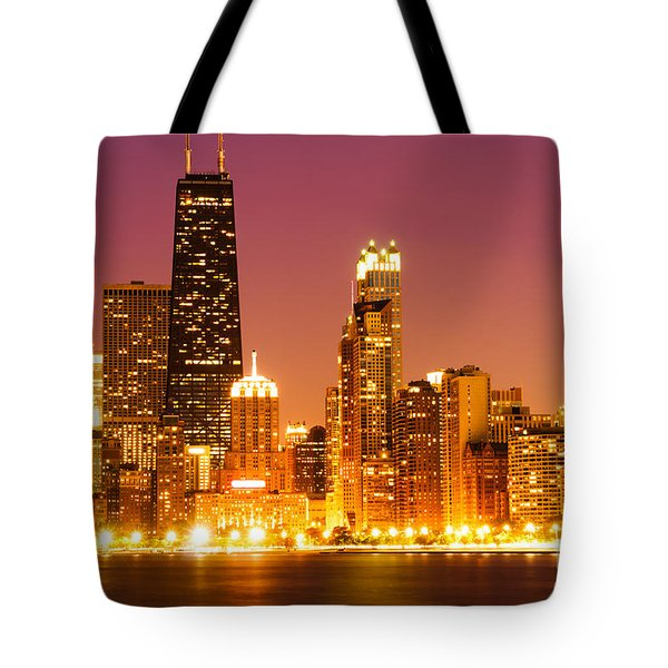 Chicago Night Skyline With John Hancock Building Tote Bag by Paul Velgos