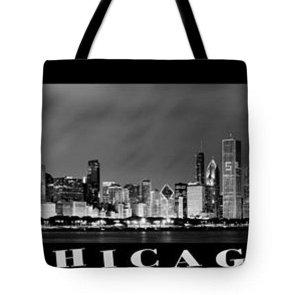 Chicago Panorama At Night Tote Bag