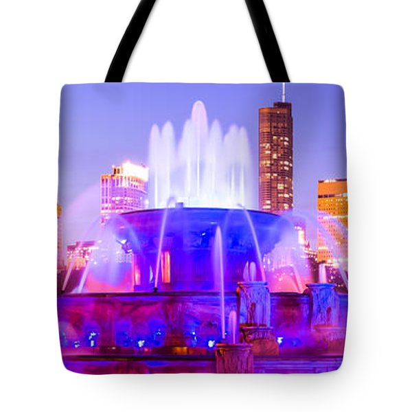 Chicago Panoramic Picture With Buckingham Fountain  Tote Bag by Paul Velgos
