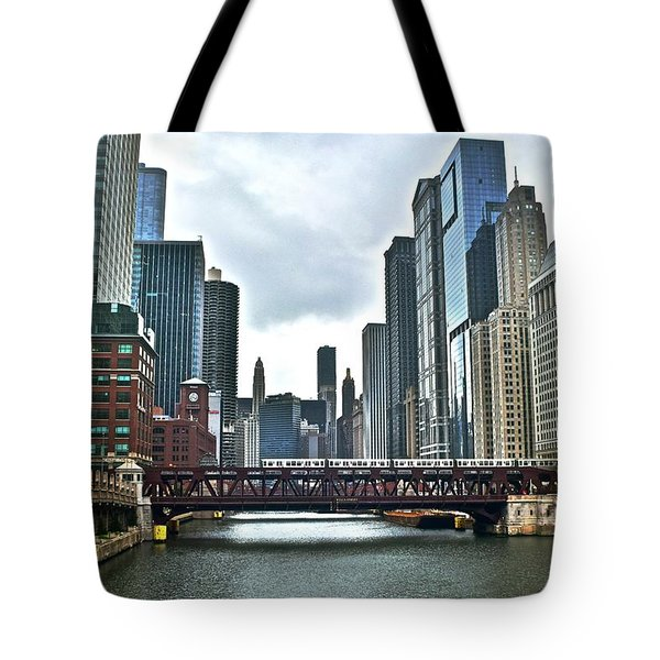 Chicago River And City Tote Bag