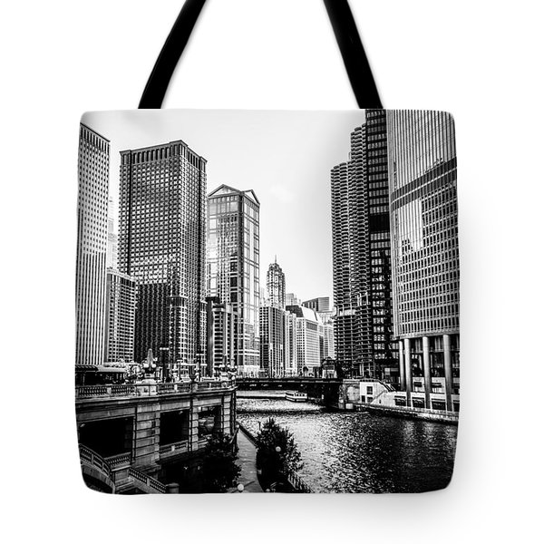 Chicago River Buildings In Black And White Tote Bag by Paul Velgos