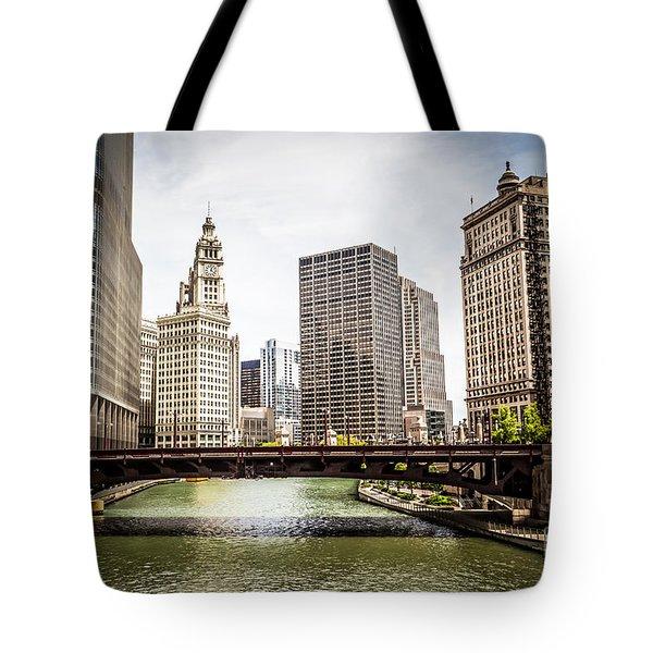 Chicago River Skyline At Wabash Avenue Bridge Tote Bag by Paul Velgos