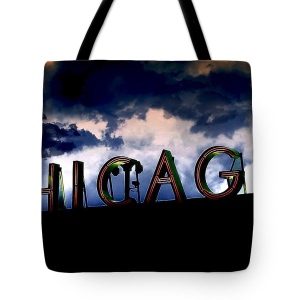 Chicago Sign Sunset Tote Bag by Kristie  Bonnewell