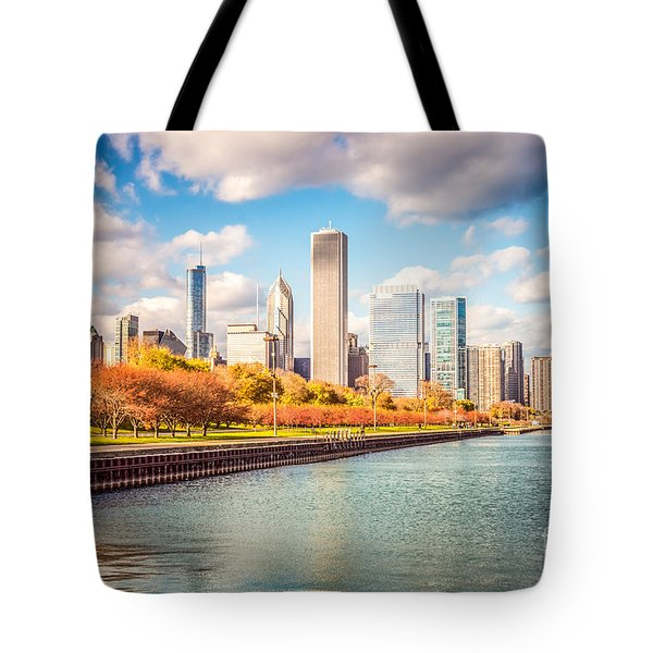 Chicago Skyline And Lake Michigan Photo Tote Bag by Paul Velgos