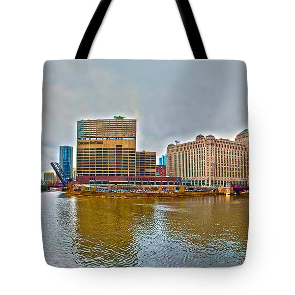 Tote Bag featuring the photograph Chicago Skyline And Streets by Alex Grichenko