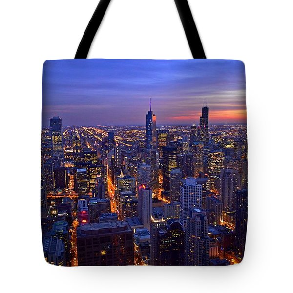 Chicago Skyline At Dusk From John Hancock Signature Lounge Tote Bag by Jeff at JSJ Photography