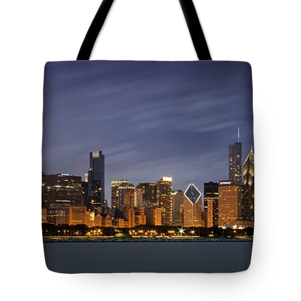 Chicago Skyline At Night Color Panoramic Tote Bag