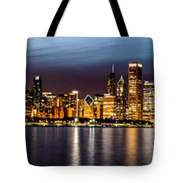 Chicago Skyline At Night Panoramic Tote Bag