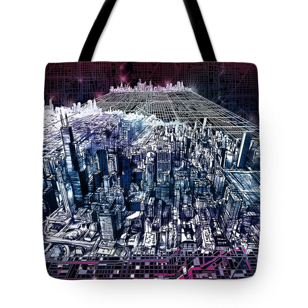 Chicago Skyline Black Verson Tote Bag