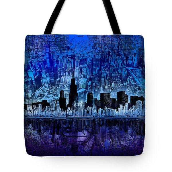 Chicago Skyline Blue Version Tote Bag