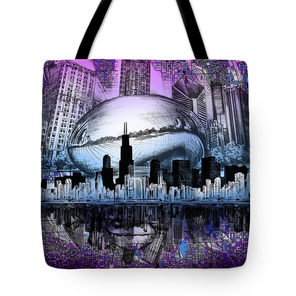 Chicago Skyline Drawing Collage 2 Tote Bag
