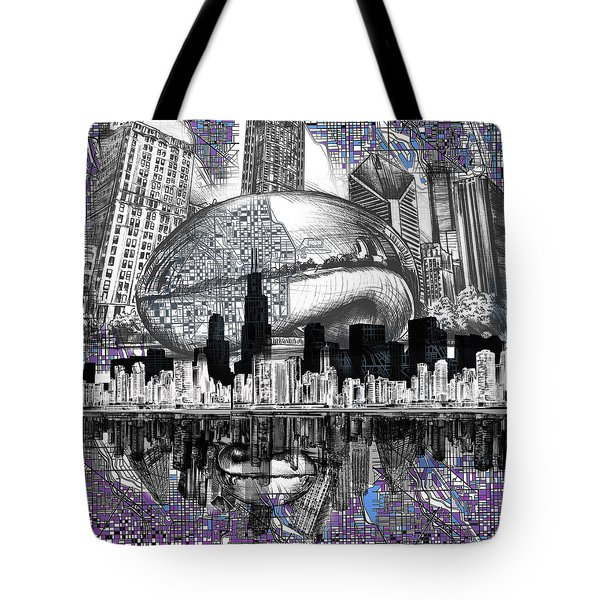Chicago Skyline Drawing Collage Tote Bag